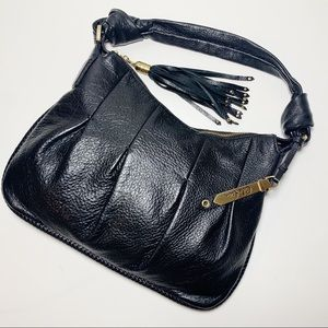 Cole Haan Black Leather Shoulder Bag Purse Tassel